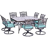 Hanover Traditions 9 Piece Dining Set in Blue with a 60″ Square Glass-Top Dining Table For Sale