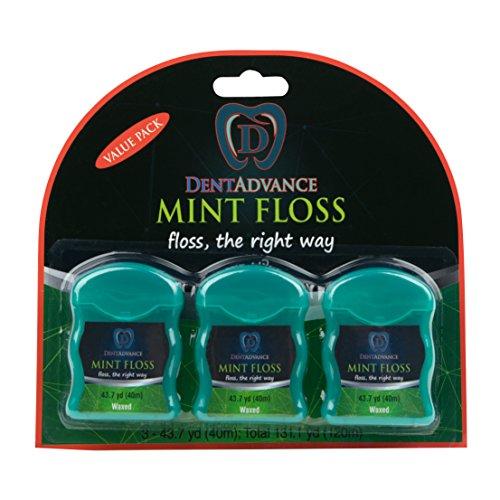 DentAdvance Premium Mint Waxed Dental Floss, 40 M, Pack of 3 -