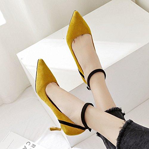 butt giallo alti singola punta luce calzature singolo tacchi donna ugello colore calzatura Punta 35 scarpe OEwvxqBq