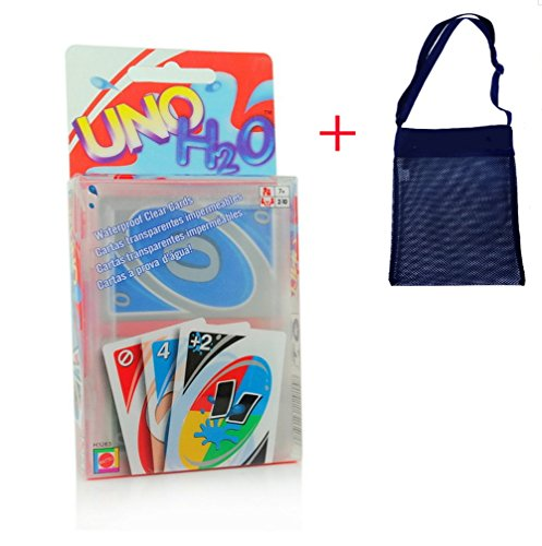 [GRACES]UNO Waterproof H2O splash Playing Clear Plastic Family Card Game With Useful Black Mesh Cross Bag