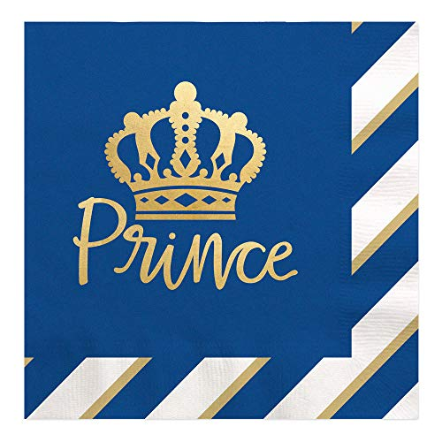 (Royal Prince Charming with Gold Foil - Baby Shower or Birthday Party Luncheon Napkins (16 Count))