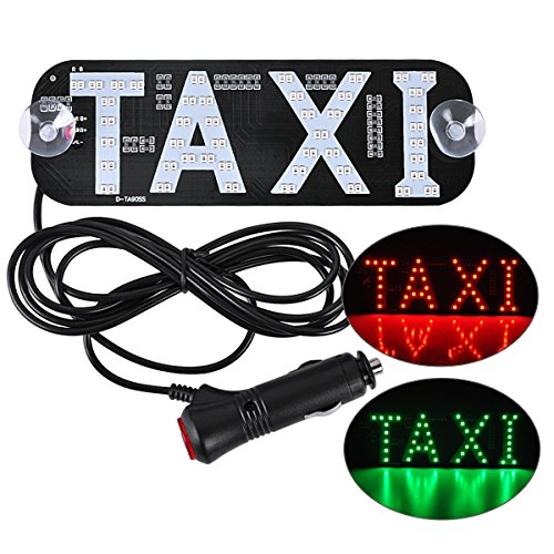 (AutoEC Taxi LED Sign Decor, 2 Color Changeable Taxi Flashing Hook on Car Window with DC12V Car Charger)
