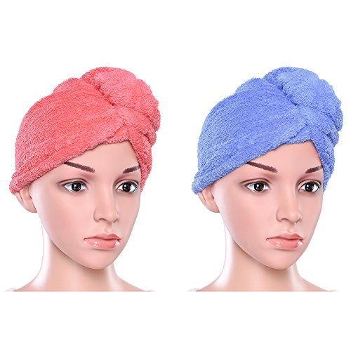 Uarter Hair Turban Towel Twist Wrap Fast Drying Absorbent Microfiber Dry Hair Cap for Bath, Spa, Makeup 23.4 * 9.8inch (2 Pack)