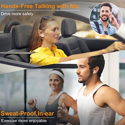 Wireless Earbuds Bluetooth Headphones Stereo Bluetooth Earbud Wireless Earphones Mini In-Ear Headphones Sweatproof Sport Earbud Noise Cancel Mic Charging Case (White) by Newor (Image #2)