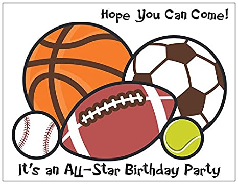 Amazon.com: All Star Fiesta de cumpleaños Invitaciones – 25 ...