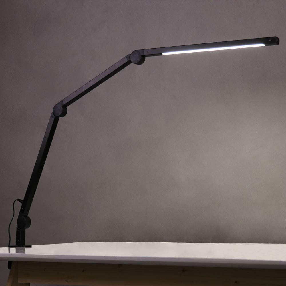 Eyocean - Lámpara de escritorio LED, brazo giratorio, lámpara de arquitectura, lámpara de trabajo, control táctil, lámpara de mesa, regulación sin niveles, temperatura de color ajustable [Clase de eficiencia energética A+++]