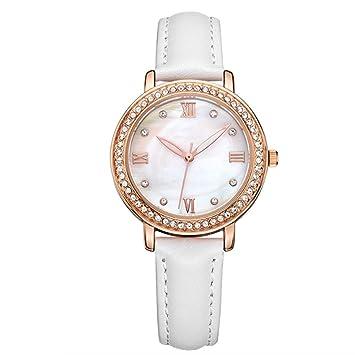 Reloj, Moda Diamante Incrustado Tiempo Y Reloj De Cuarzo Minutos Ronda Dama ,White
