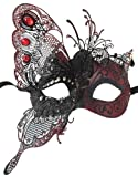 RedSkyTrader Womens Dragon Metal Mask One Size Fits Most Red Black
