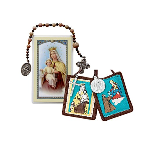 (Gifts by Lulee, LLC Our Lady of Mount Carmel Rosary Chaplet & Prayer Card and Free Brown Scapular Blessed By Pope Francis)