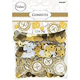 Amscan 360344 50th Anniversary-Gold Confetti Mixes, Party Supplies, Multicolor, 1.2 oz.
