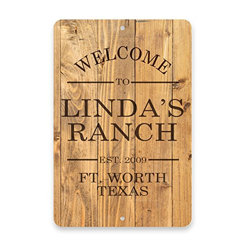 Personalized Rustic Wood Plank Welcome to the Ranch Metal Room Sign