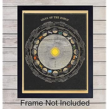 Zodiac Signs Unframed Wall Art Print - Super Chic Home Decor for Bedrooms, Living Rooms, Bathrooms And More - Perfect Gift For Astrology Lovers - Ready to Frame (8x10) Vintage Photo