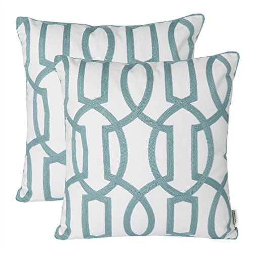 light blue and white throw pillow - 2