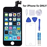 iPhone 5s Screen Replacement (Black), P-zone LCD Display Touch Digitizer Full Assembly Repair Kit with Proximity Sensor + Ear Piece + Front Camera + Screen Protector + Repair Tools