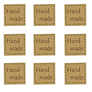 Hand Made Dotted Line Kraft Sticker for Home Baking Gift Packaging, Pack of 120