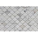 10 Square Feet - Calacatta Gold Marble Arabesque Mosaic Tiles