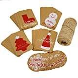 Christmas Kraft Paper Gift Tags with Jute Twine for Gift Wrapping Packaging, Set of 50