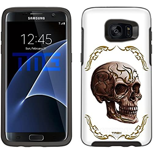 Skin Decal for Otterbox Symmetry Samsung Galaxy S7 Edge Case - Yellow Tattoo Skull on White Sales