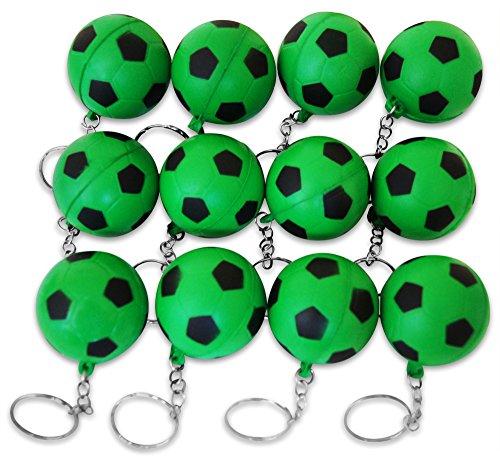 Novel Merk 12 Pack Green Soccer Ball Keychains for Kids Party Favors & School Carnival Prizes by Novel Merk