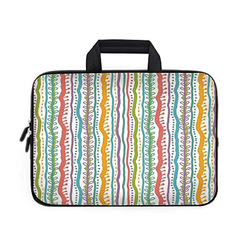op Carrying Bag Sleeve,Neoprene Sleeve Case/Vertical Abstract Featured Swirl Lines Curved Stylish Sketchy Bands and Dots Display/for Apple MacBook Air Samsung Google ()