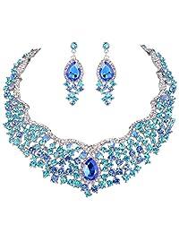 Ever Faith Flower Cluster Teardrop Austrian Crystal Necklace Earrings Set