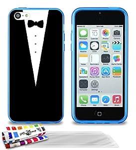 """Carcasa Flexible Ultra-Slim APPLE IPHONE 5C de exclusivo motivo [Traje] [Azul] de MUZZANO  + 3 Pelliculas de Pantalla """"UltraClear"""" + ESTILETE y PAÑO MUZZANO REGALADOS - La Protección Antigolpes ULTIMA, ELEGANTE Y DURADERA para su APPLE IPHONE 5C"""