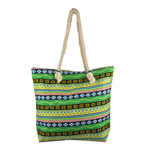 Lux Accessories Lux Accessories Womens Zip Up Beach Bag Lime - Tote Embroidered Lined Fully