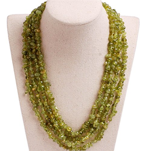 (GEM-inside Gemstone Necklace Peridot Chips Charm Fashion Bohemia Statement Hyperbole Bib Stand String Beaded Necklace Crystal Unisex 18-21 Inches)