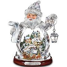 Thomas Kinkade Santa Claus Tabletop Crystal Figurine: Santa Claus Is On His Way by The Bradford Exchange