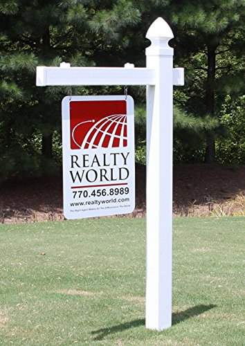 4EVER Vinyl PVC Real Estate Sign Post - White (Single) by 4EVER
