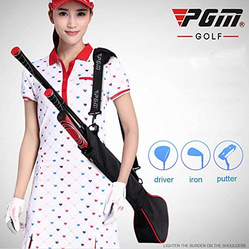 PGM Golf Sunday Bag Golf Practice Bag, Can Hold 3 Golf Clubs (black with red edge)