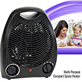 Portable Black Space Heater Compact Home Office Quiet, Adjustable Thermostat