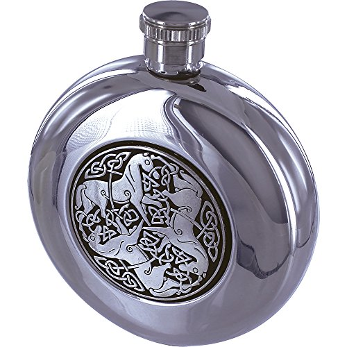 (Maxam 5oz Round Stainless Steel Flask with Celtic Horse Medallion)