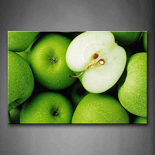 - Crystal Emotion Green Apple Wall Art Painting The Picture Print On Canvas Food Wall Art Stretched and Framed Artwork 24x36inch