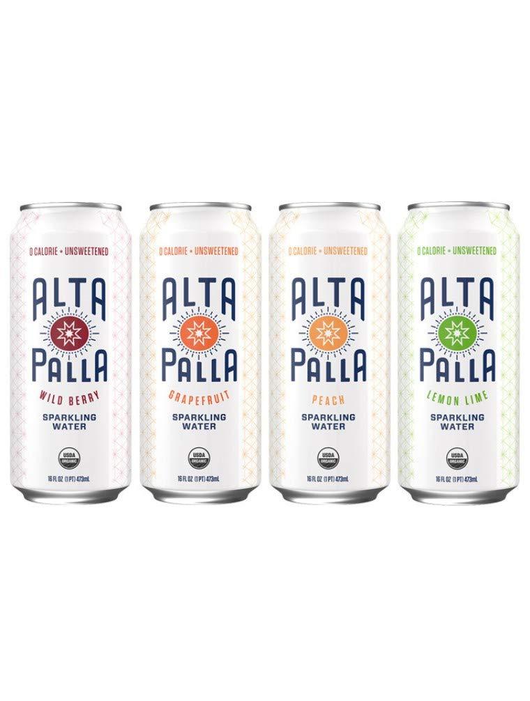 Alta Palla Sparkling Water Variety: Wild Berry, Grapefruit, Peach, Lemon Lime - 16fl.oz. (Pack of 12)