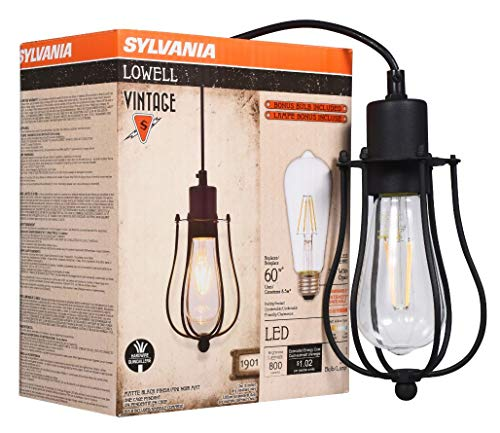 SYLVANIA General Lighting 75513 Sylvania 75512 Lowell Cage Pendant Light, LED, Dimmable Bulb Included Vintage Fixture, Antique Black