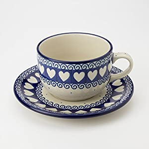 Polish Pottery Teacup and Saucer – Light Hearted – 200ml