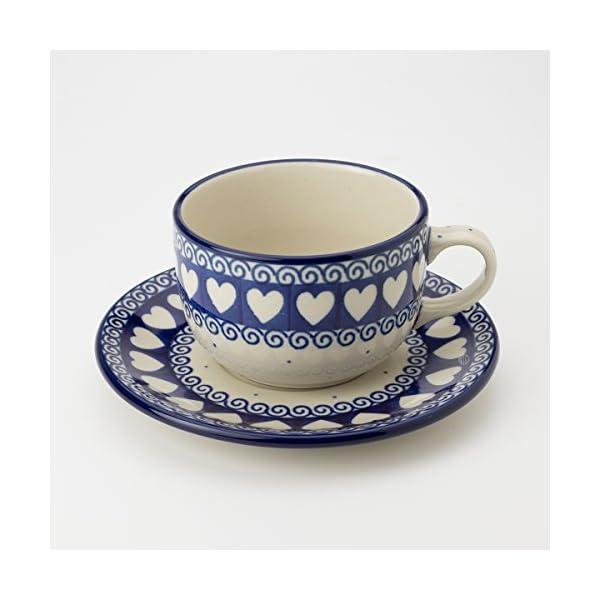 Polish Pottery Teacup and Saucer – Light Hearted – 200ml