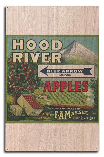 Lantern Press Blue Arrow Apple Crate Label (10x15 Wood Wall Sign, Wall Decor Ready to Hang)