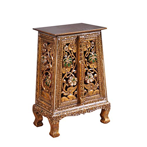 (QL Side End Table Southeast Asian Thai Furniture Decorative Cabinet Handmade Openwork Carved Old Gold with Drawer Side End Table)