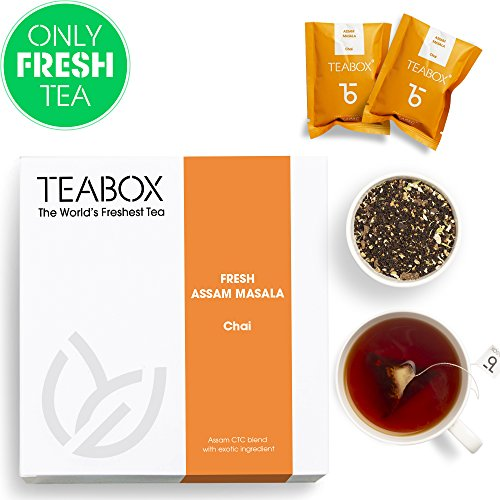 Teabox Assam Masala Chai Spiced Tea, 16 Teabags | 100% Natural Ingredients & Spices: Cinnamon, Cardamom, Black Pepper, Ginger | No Artificial Flavoring | Sealed-at-Source Freshness from India by Teabox