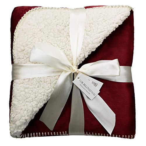 """Exclusivo Mezcla 50"""" x 70"""" Large Reversible Sherpa Throw Blanket (Burgundy) - Lightweight, Warm, Soft and Cozy from Exclusivo Mezcla"""