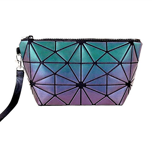 Beautier Holographic Reflective Luminous Handbag Lattice Design Geometric Bag Unique Purses Soft PU Leather Wristlet Clutch Cell Phone Purse (Hexagon)