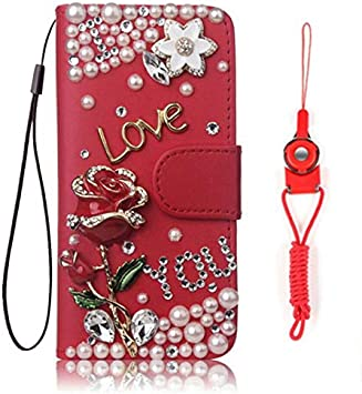 Amazon Com Icy2701376 Lg K51 Lg Q51 Case Bling Girls Leather Filo Slots Stand Wallet Flip Protective Case Phone Cover Neck Strap For Lg K51 Lg Q51 Red Rose Electronics