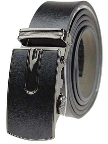 Sven Home Men's Genuine Leather Ratchet Dress Belt with Automatic Buckle with Gift Box (Black)