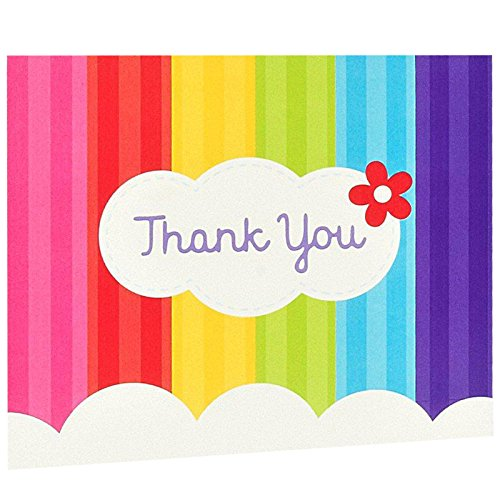 BirthdayExpress Rainbow Wishes Party Supplies - Thank-You Notes (8) ()