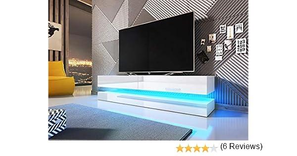 VIVALDI Mueble para TV - FLY - 140 cm - Blanco Mate con Blanco Brillante con iluminación LED Azul - Estilo Design: Amazon.es: Juguetes y juegos