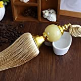Peacewish One Pair Modern Chinese Jade Curtains Tied Ball Decoration Tassel Hanging Curtain Buckle High-end Curtain Pendant (Gold)