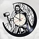 Thor Ragnarok superhero vinyl record wall clock Marvel Comics wall clock gift idea for birthday, christmas, women, men, friends, girlfriend boyfriend and teens - living kids room nursery (White/Black)