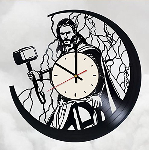 Thor Ragnarok superhero vinyl record wall clock Marvel Comics wall clock gift idea for birthday, christmas, women, men, friends, girlfriend boyfriend and teens - living kids room nursery (White/Black) by Pieceful